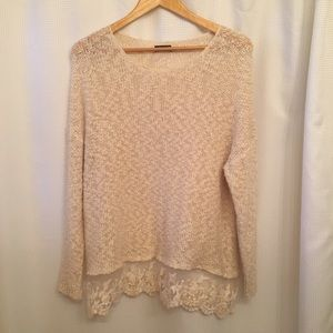 Cream Layered Lace Oversized Sweater